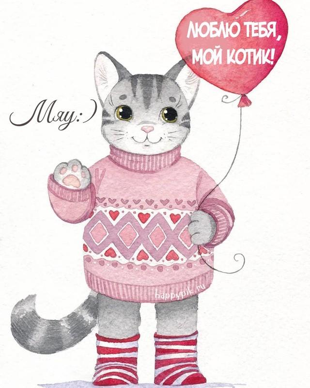 Картинки с котом я тебя люблю