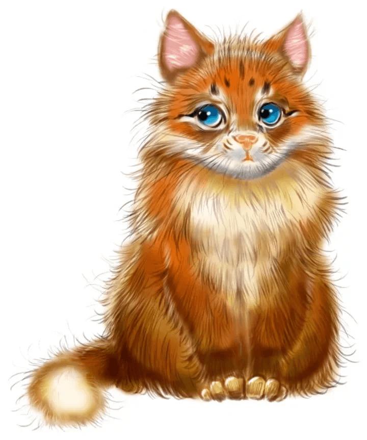 Рыжий кот картинки для детей нарисованные